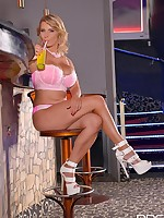 Busty, Blonde & Beautiful - Hot Babe Masturbates On Bar Stool free photos and videos on DDFNetwork.com