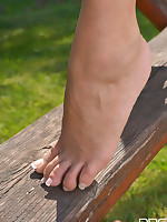 Little Miss Sunshine: Hot Milf's Leg Fetish Fun in The Garden! free photos and videos on DDFNetwork.com
