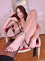 Horny Milf Masturbation: Sexy Babe in Boots Sucks Feet! free photos and videos on DDFNetwork.com